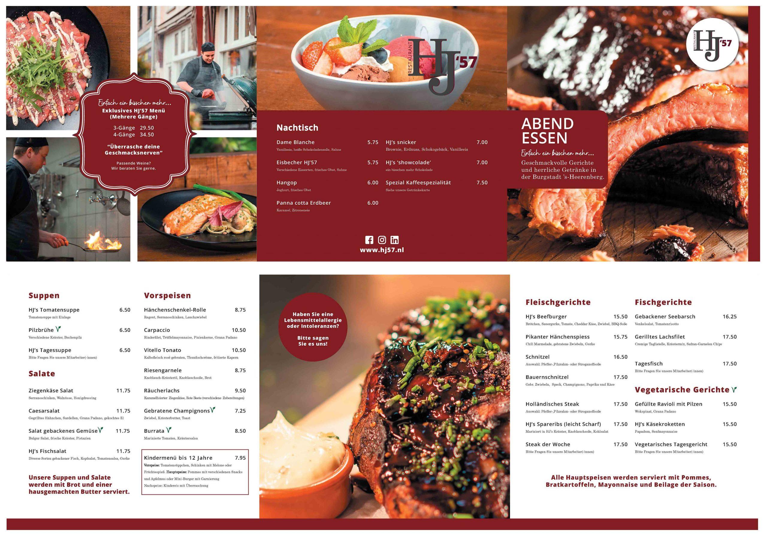 HJ57 Duitse menukaart